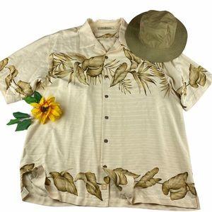 Tommy Bahama Hawaiian Floral Leaves silk Shirt